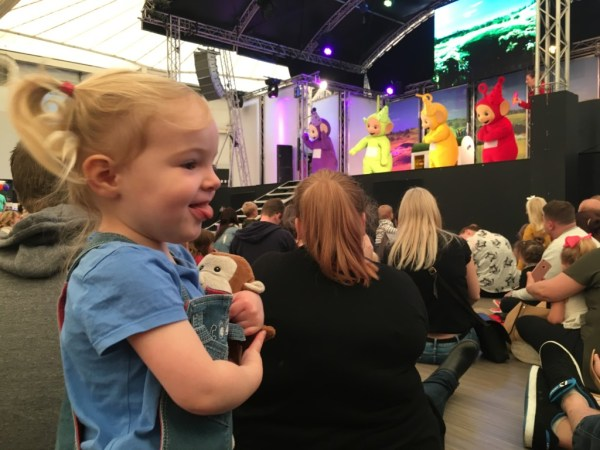 My Sunday Photo link up photo where Spike is watching the Teletubbies live show at Just for Tots Butlins