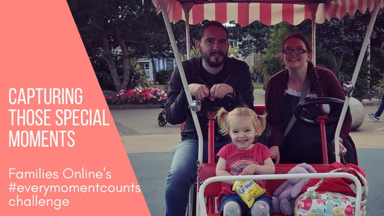 Blog title image of me, t and Spike on a bike at Butlins with the caption Capturing Those Special Moments Families Online's #everymomentcounts challenge