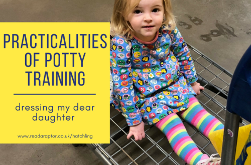 Spike sat on a trolley at Ikea during potty training start up. What they don't tell you is how to dress your child during potty training.