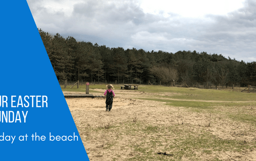 Spike enjoying a stroll through the family picnic area at Formby Beach with blog title of Our Easter Sunday a Day on the beach caption