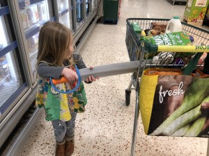 Fun in Morrisons with foam sword