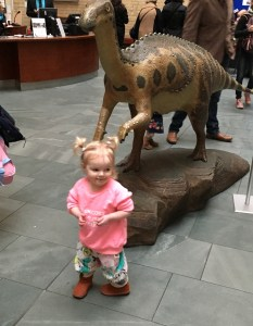 Spike with the dinosaurs at World Museum Liverpool