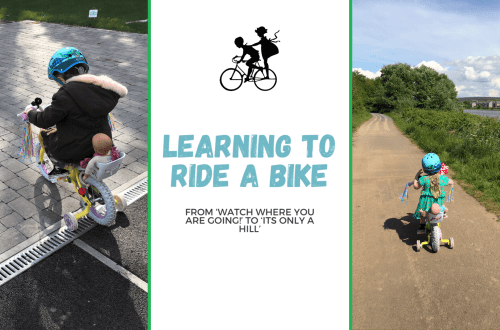 Blog title image with two photos of Spike riding a bike and the blog title, Learning to ride a bike - from 'watch where you are going!' to 'its only a hill'