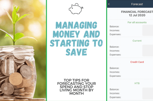Managing money and savings when you have a family. Image is blog title with money in jar with a plant growing out of it and a screenshot from the app MoneyWiz 3