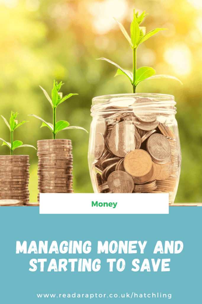 Managing money and starting to save pinterest graphic with money piles sprouting into trees