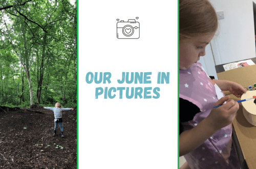 Our June 2020 in pictures blog graphic with blog title and two images. First shows a 5 year old blonde girl with her arms outsretched under a canopy of trees in the woods, the second shows the same girl painting a money box shaped like a cat.