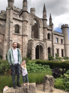 Daddy and Spike in front of Lowther Castle