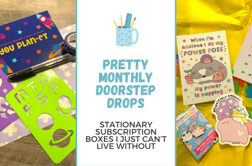 Two images of stationary subscription boxes you can get in the UK