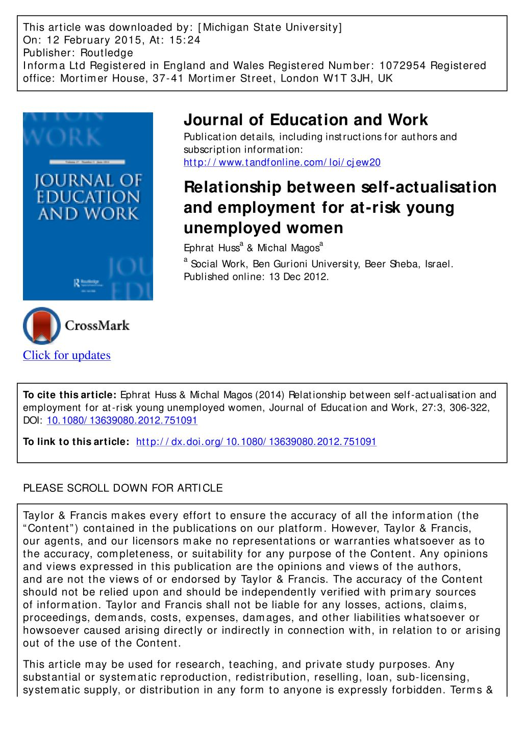 Relationship Between Self Actualisation And Employment For