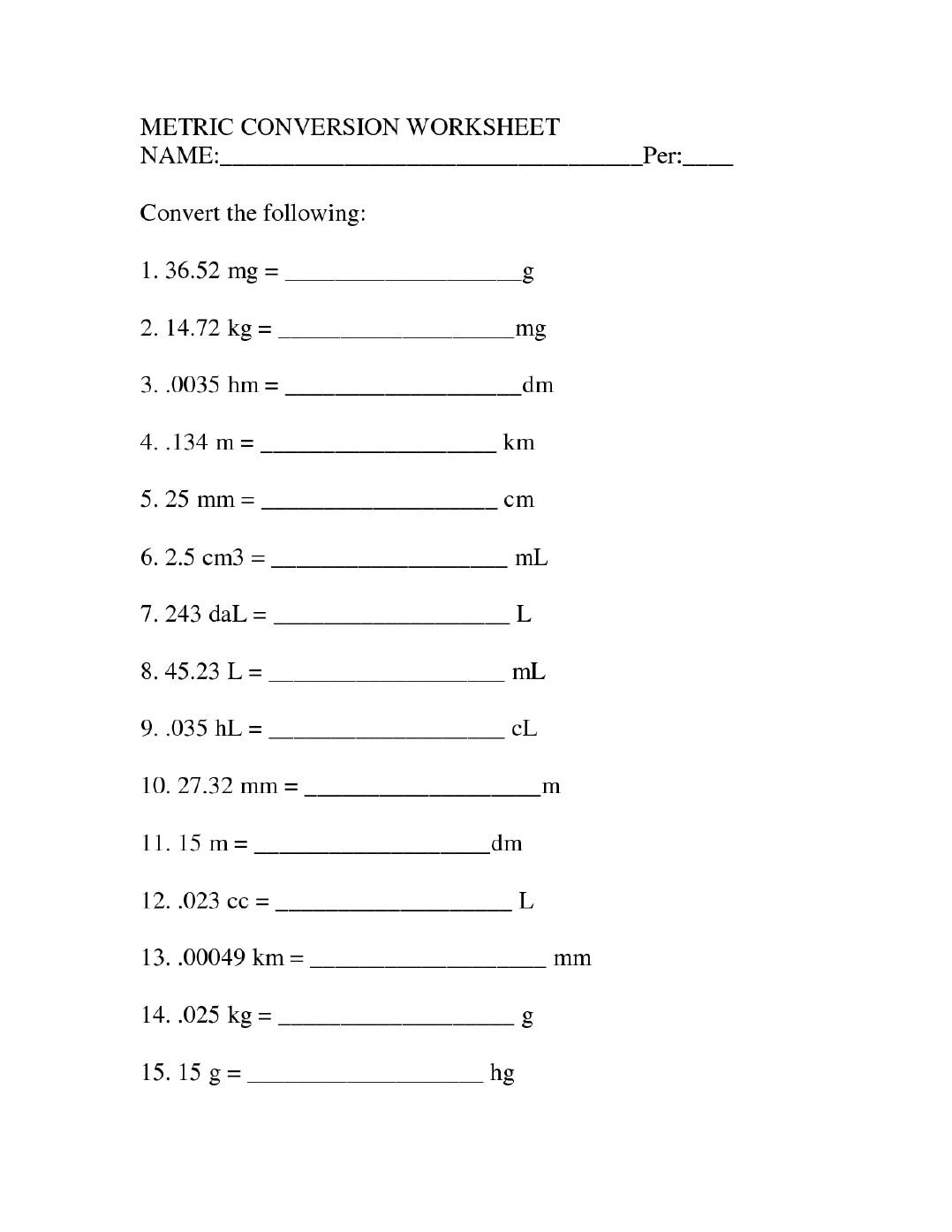 High School Science Worksheets