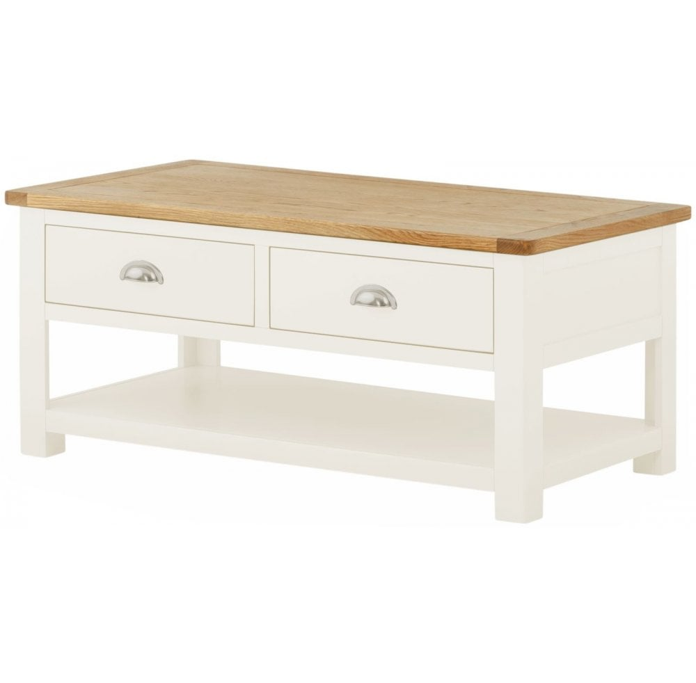 thorncross white painted coffee table with drawers white