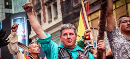Rosebud Sioux Tribe chairman Cyril Scott at the People's Climate March in New York City on Sept. 21, 2014. (photo: Jenna Pope)