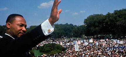 Dr. Martin Luther King Jr. addressing the crowd during the March on Washington in August 1963. (photo: Francis Miller/Time & Life Pictures/Getty Images)