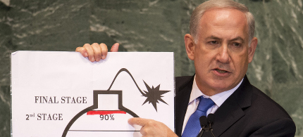 Benjamin Netanyahu giving speech about danger of Iran's nuclear program at UN. (photo: Don Emmart/AFP/Getty)