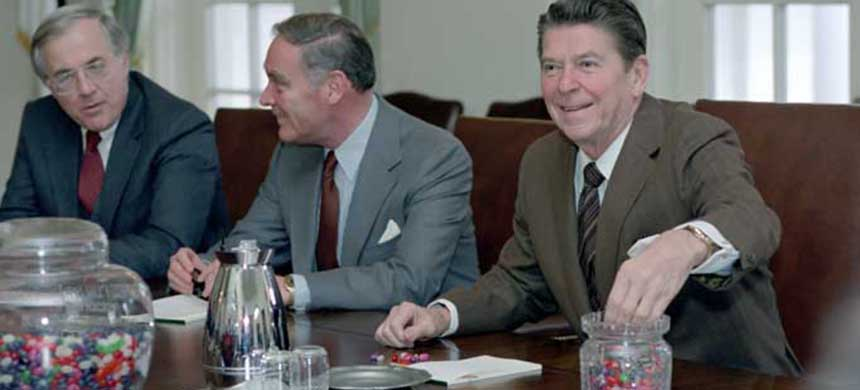 President Ronald Reagan with Secretary of State Alexander Haig and National Security Advisor Richard Allen during a meeting with Interagency Working Committee on Terrorism in the Cabinet Room, Jan. 26, 1981. (photo: Reagan Library archives/Consortium News)