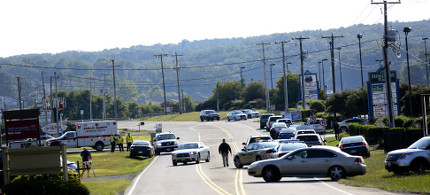 Police near the scene of the Virginia shooting of on-air journalists. (photo: Getty)