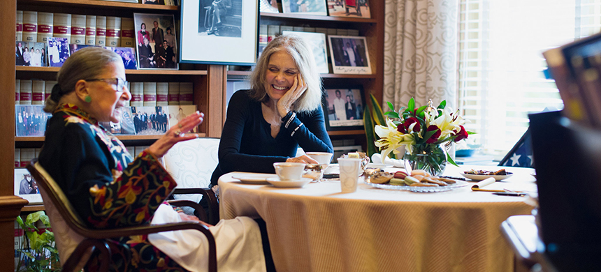 Justice Ruth Bader Ginsburg, left, and Gloria Steinem in Justice Ginsburg's chambers in the Supreme Court. (photo: Hilary Swift/NYT)