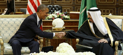 President Barack Obama shakes hands with Saudi Arabia's King Salman at the start of a bilateral meeting at Erga Palace in Riyadh, Saudi Arabia, in 2015. (photo: Reuters)
