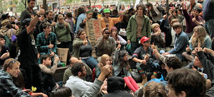OCCUPYWALLSTREET is a people-powered movement for democracy that began in America on September 17 with an encampment in the financial district of New York City. Inspired by the Egyptian Tahrir Square uprising and the Spanish acampadas, they vow to end the monied corruption of our democracy. (photo: Collin David Anderson)