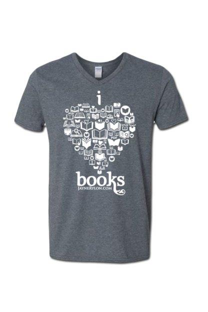 I Heart Books VNeck T-Shirt Gray