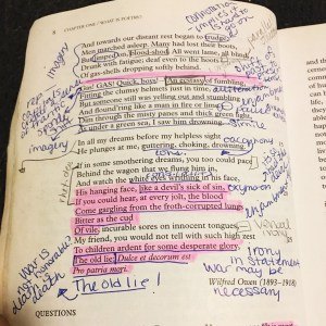 my heavily annotated copy of a poetry book from senior year