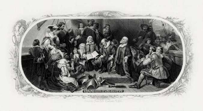 Engraving by W.W. Rice showing Robert Weir's Embarkation of the Pilgrims, showing prayerful group of men and women in Pilgrim clothing.