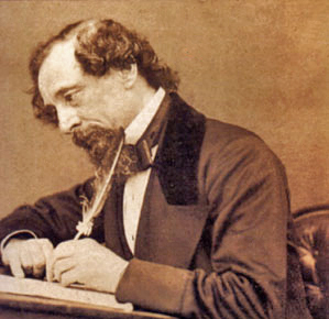 Old photo showing Charles Dickens Writing