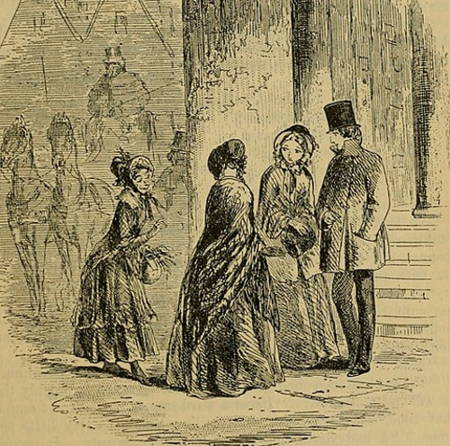 B & W Illustration from Bleak House by H. K. Brown showing wards in Jarndyce meeting Miss Flite.