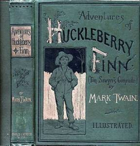 Green cover from a 19th century edition of Huckleberry Finn, designed by E. W. Kemble. Shows smiling figure of a boy wearing a straw hat with his back to a fence.