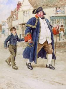 Painting showing scene from Oliver Twist--small boy in Victorian workman's clothing grasping cuff of rotund man in blue cape, white vest, and tricorn hat.