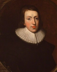 Painting showing young man of 17th century wearing a pleated ruffle around neck.