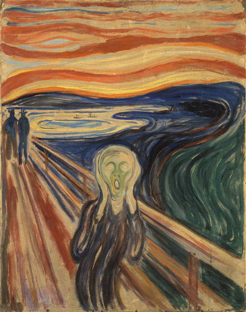 "Modernists were not shy about portraying angst and alienation. ""The Scream"" by Edvard Munch*"
