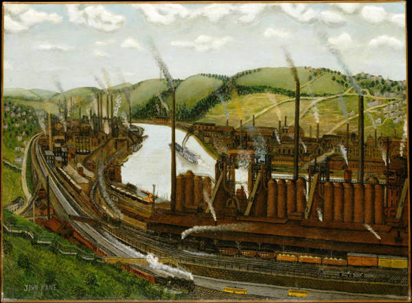 Primitive style 1931 painting of Monongohela River near Pittsburgh--rolling green hills on either side, barge on river. Parallels American Modernist Literature interest in folk styles.