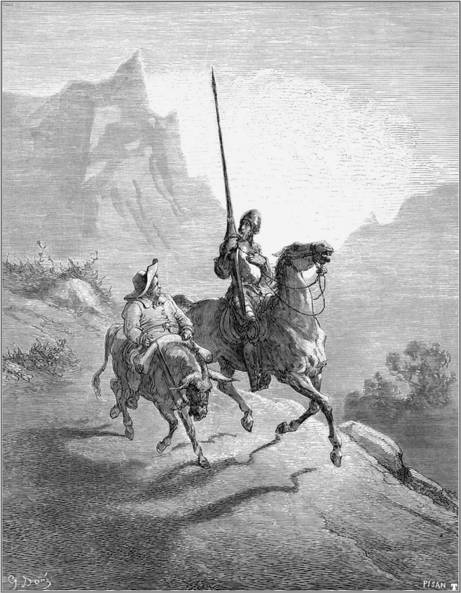 Gustav Dore's illustration for Cervantes's Don Quixote showing Don Quixote and Sancho Panza. This novel is an example of the Episodic Plot style.