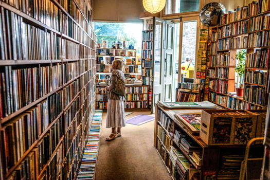 Woman in Bookshop. Books are lining the walls and woman, wearing skirt, jacket, and light pack, is scanning shelves.