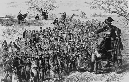 B & W Engraving of picture of Dickens's Mr. Pickwick in a chair on a hill overlooking a huge crowd of Dickens's characters massed in the valley below.