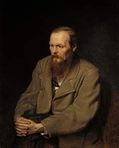 Painting of Dostoyevsky from waist up, showing bearded, serious man in overlarge brown coat with lapels. Famous for characterization of Raskolnikov.