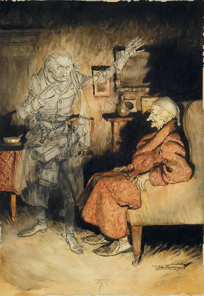 Painting in earth and gray tones showing Ebenezer Scrooge, old man with robe and nightcap, sitting in chair next to ghostly figure. A marvel of great characterization.