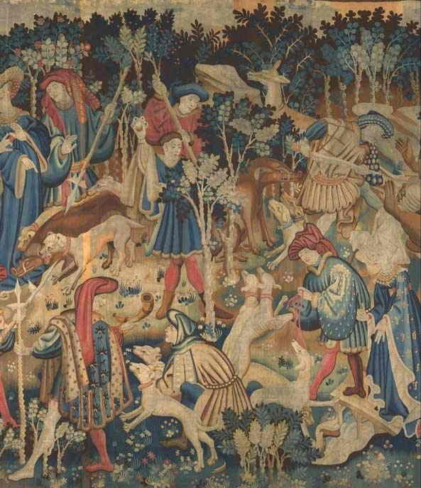 Middle Ages Tapestry depicting many folk in period dress with dogs and spears ready to hunt bear and boar.
