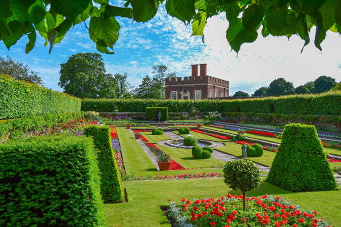Garden at Hampton Court, an important palace during the reign of the Tudors during the English Renaissance.