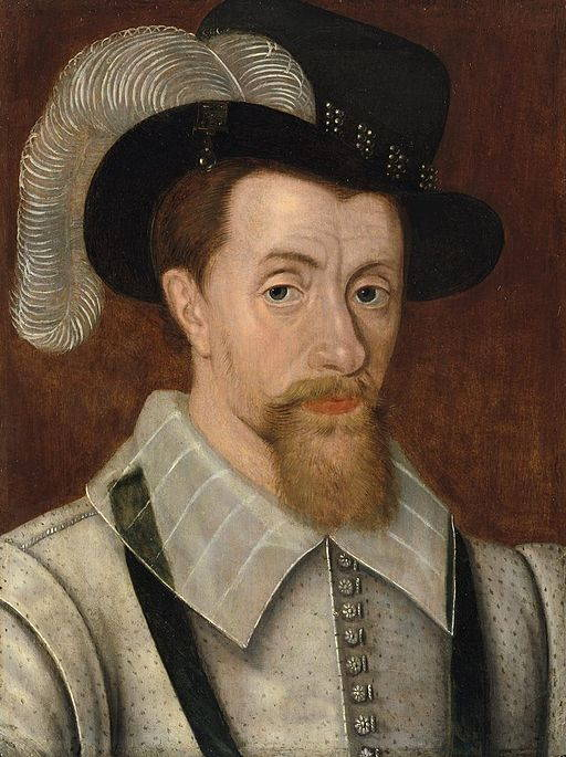 King James I of England, close-up painting of this English Renaissance king with tidy reddish beard, hooded dark eyes, and broad-brimmed hat with feather.