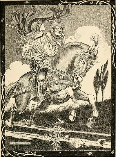 "The Red Cross Knight and Una, 1905 illustration of Spenser's ""The Faerie Queene."" B & W engraving of armored knight on large, charging white horse, holding a woman on the saddle."