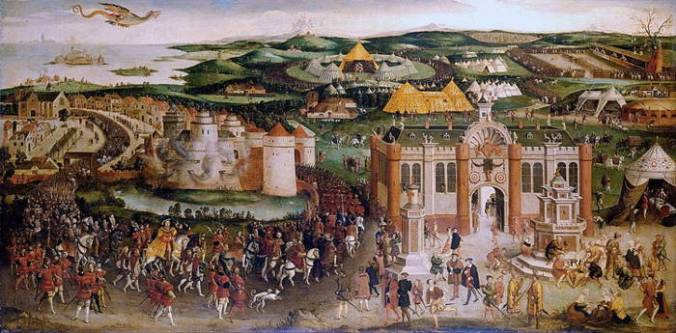 Painting showing a large field with various elaborate tents and structures, Renaissance people walking and riding horses while a dragon flies overhead.
