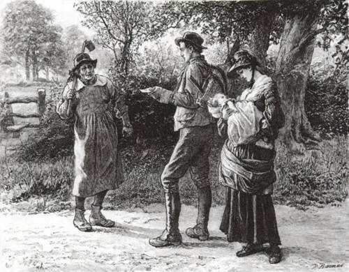 Old style clothing in this illustration from the novel brings home how long ago it was written.