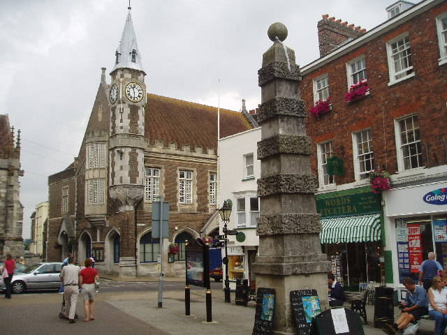 View of current day Dorchester shows town pump and Corn exchange as Hardy described them in Casterbridge.