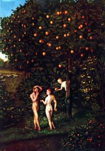Eating the Forbidden Fruit. Painting by Lucas Cranach the Elder, 1530.