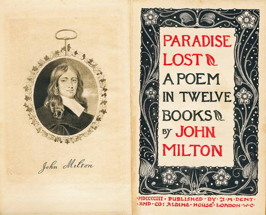 Picturesque cover of 1903 edition of Paradise Lost, including engraving of Milton, showing the poem's longevity.