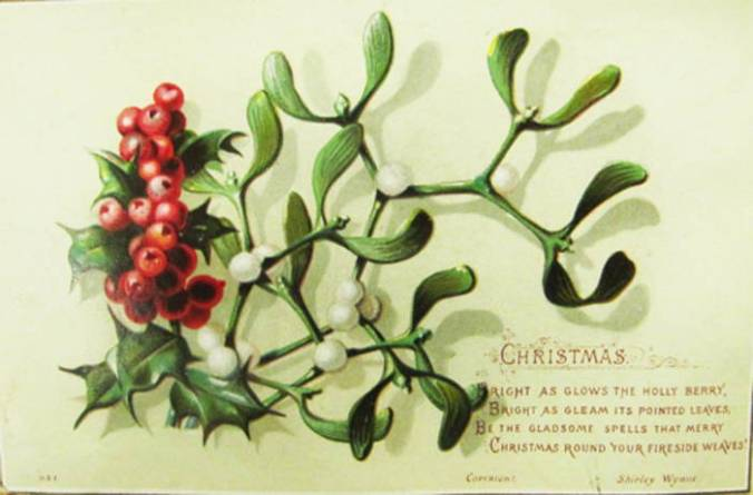 Vintage Christmas card showing spare branch of holly with some mistletoe: Christmas simplicity.