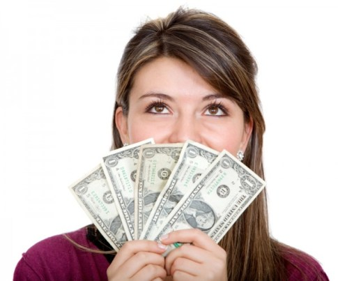 Casual woman with money