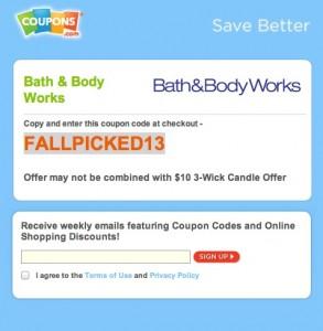 Bath Body Works Coupons.com Promo Code